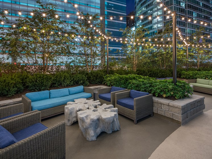 Outdoor patio with seating at McClurg Court