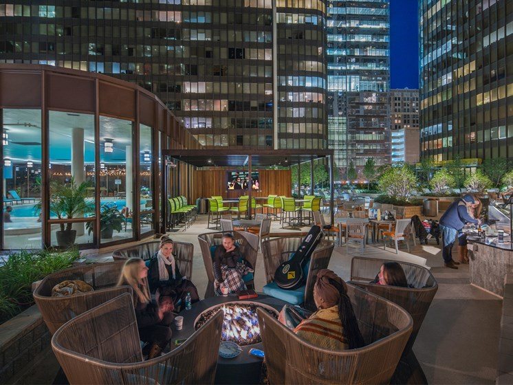 outdoor fire pits on amenity deck at McClurg Court