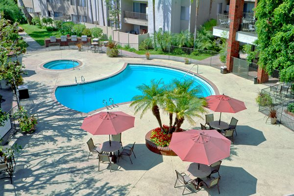 Pool Side Relaxing Area at Park Regency Club, Downey, CA,90242