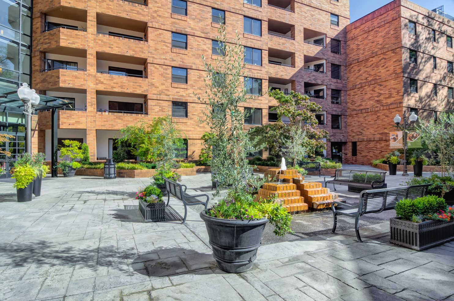 urban landscaping with water feature
