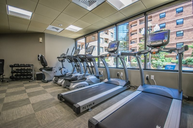 updated fitness center cardio machines, free weights