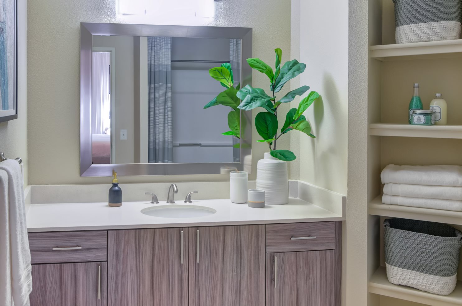Apartments Downtown Portland - Southpark Square Bathroom with Storage Space