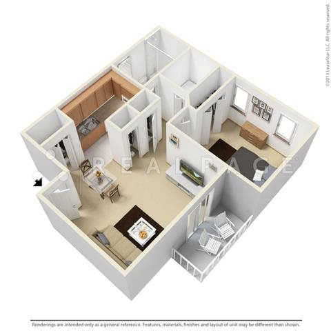 One Bedroom - Garden Floor Plan 1