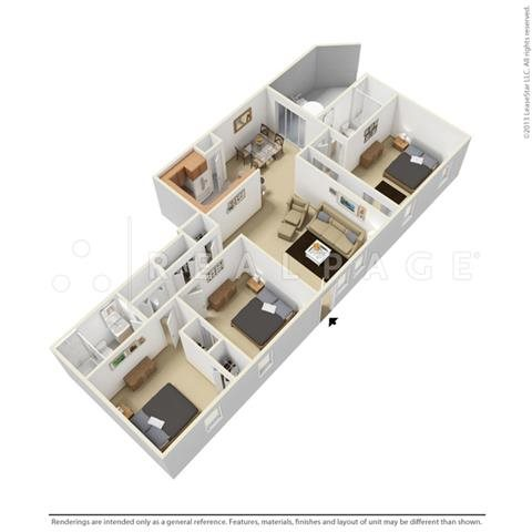 Three Bedroom - Garden Floor Plan 6