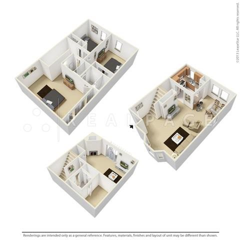 Three Bedroom - Tri-Level Floor Plan 7