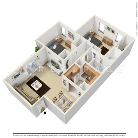 Two Bedroom - Garden Floor Plan 2