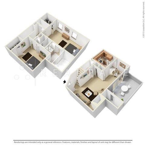 Two Bedroom Town Home Floor Plan 5