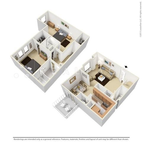 Two Bedroom - Town Home Floor Plan 3