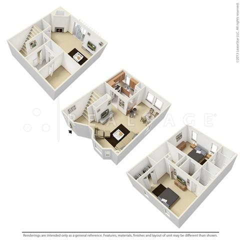 Two Bedroom - Tri-Level Floor Plan 4