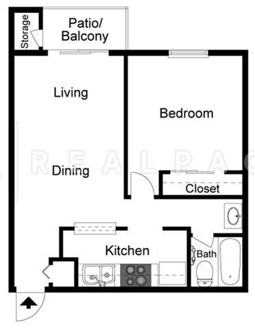 One Bedroom One Bathroom B Floor Plan 2