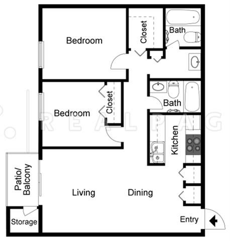 Two Bedroom Two Bathroom D Floor Plan 4