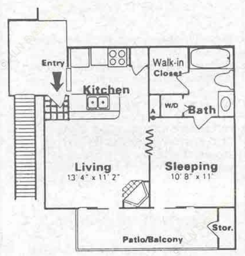 1 Bed 1 Bath Floor Plan 4