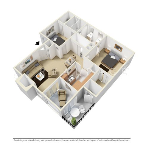 Two Bedroom DE Floor Plan 2