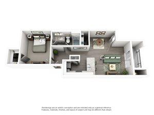 Overton Trails Apartment Homes - 1 Bedroom 1 Bath Apartment