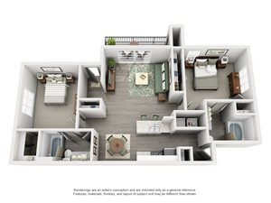 Overton Trails Apartment Homes - 2 Bedroom 2 Bath Apartment