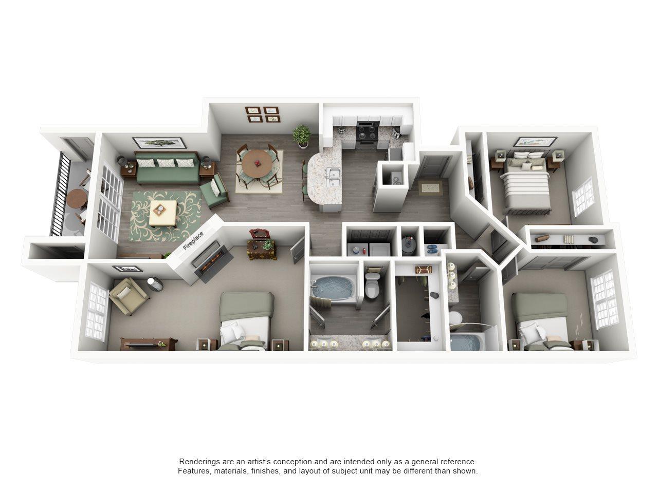 Overton Trails Apartment Homes - 3 Bedroom 2 Bath Apartment