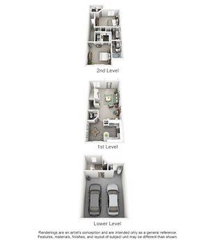 Overton Trails Apartment Homes - 2 Bedroom 2.5 Bath Apartment