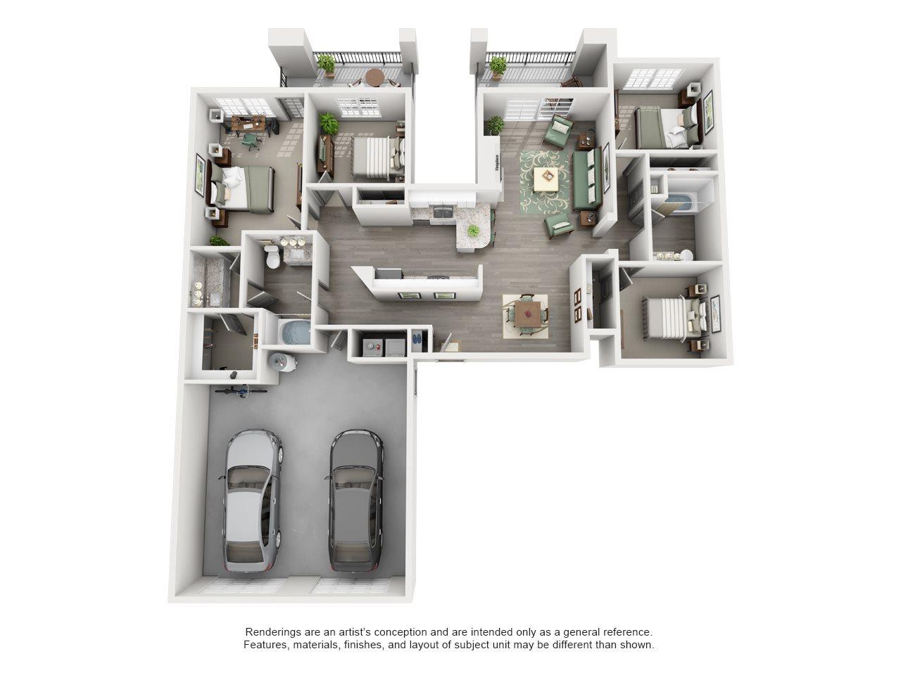 Overton Trails Apartment Homes - 4 Bedroom 2 Bath Apartment