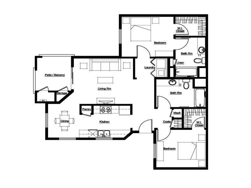 2 Bed, 2 Bath Floor Plan 2