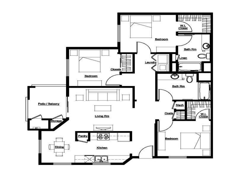 3 Bed, 2 Bath Floor Plan 3