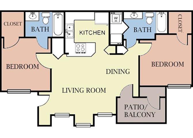 2 Bedroom 2 Bathroom 2D Floorplan-Cambury Hills Apartments Omaha, NE