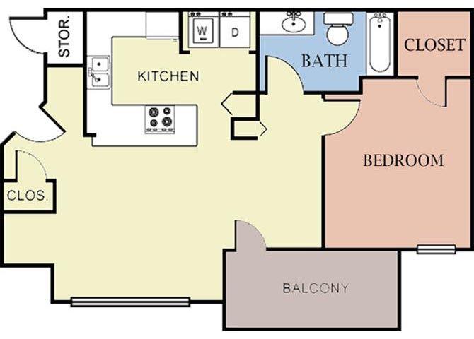 1 Bedroom 1 Bath 2D Floorplan-Cambury Hills Apartments Omaha, NE