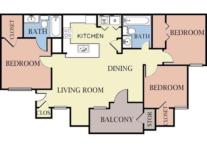 3 Bedroom 2 Bath 2D Floorplan-Cambury Hills Apartments Omaha, NE