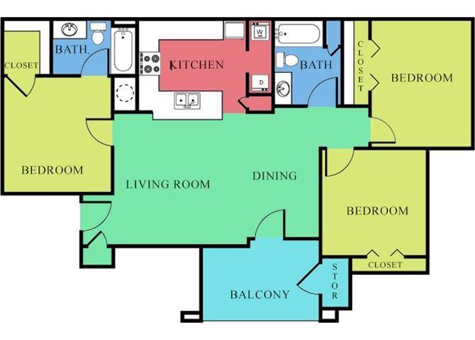 3 Bedroom 2 Bath 2D Floorplan-Waterbrook Apartments Lincoln, NE