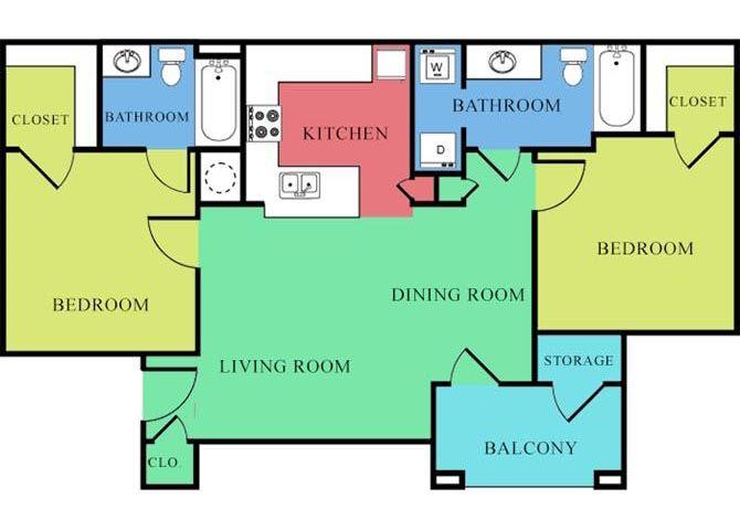 2 Bedroom 2 Bathroom 2D Floorplan-Waterbrook Apartments Lincoln, NE