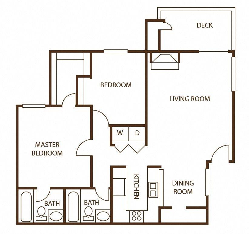 2 bedroom 2 bath w/loft Floor Plan 6