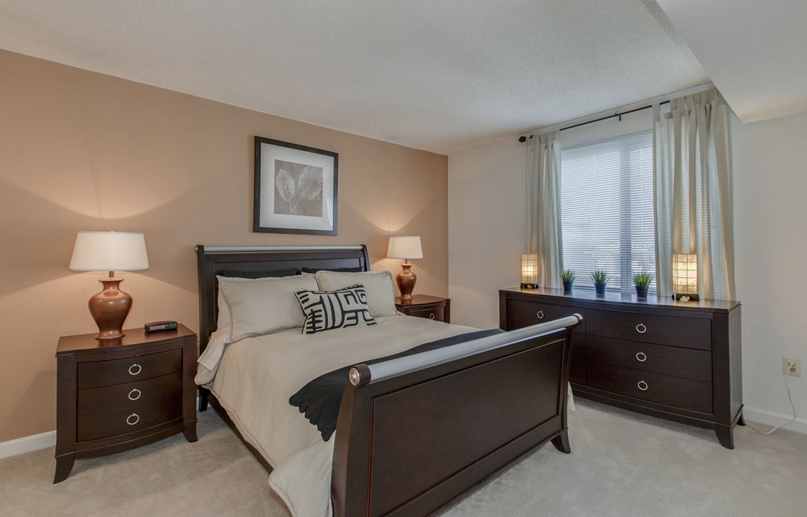Large peaceful bedroom with natural lighting and designer accent wall at The Metropolitan apartments in Bethesda, Maryland.