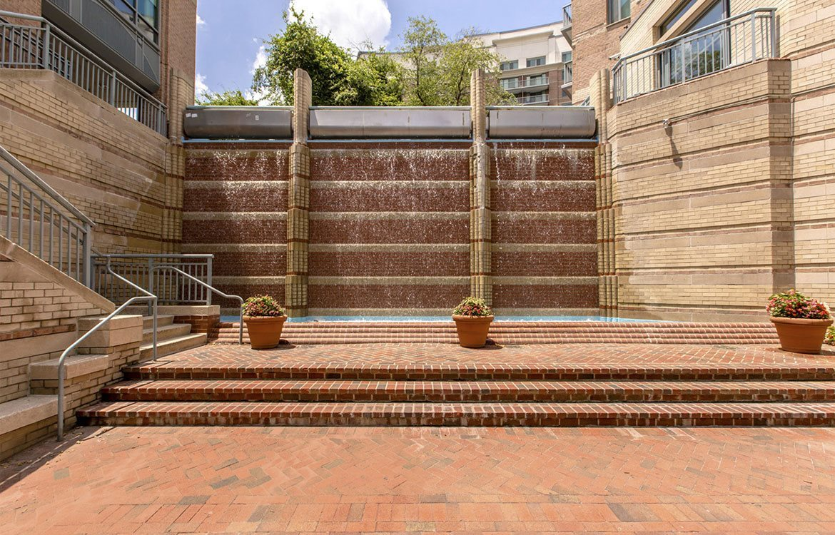 Courtyard water feature by the stairs at The Metropolitan in MD, 20814.