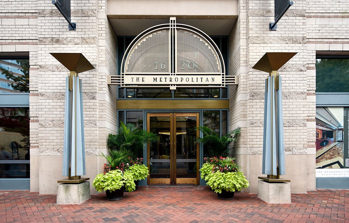 Front entrance of The Metropolitan, located at 7620 Old Georgetown Road in Bethesda, MD 20814.