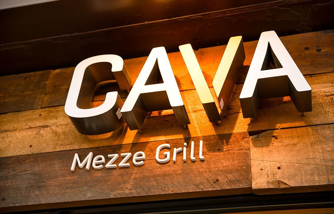 Cava Mezze Grill Mediterranean culinary in close reach of The Metropolitan apartments in Bethesda, 20814.