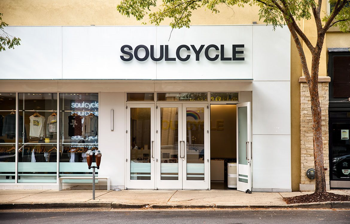 Exercise with indoor cycling at SoulCycle, close by The Metropolitan in Bethesda.