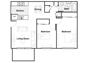 Two Bedroom/1 Bathroom Floorplan