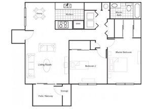 Large Two Bedroom/1 Bathroom Floorplan