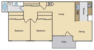 Two Bedroom One Bath C