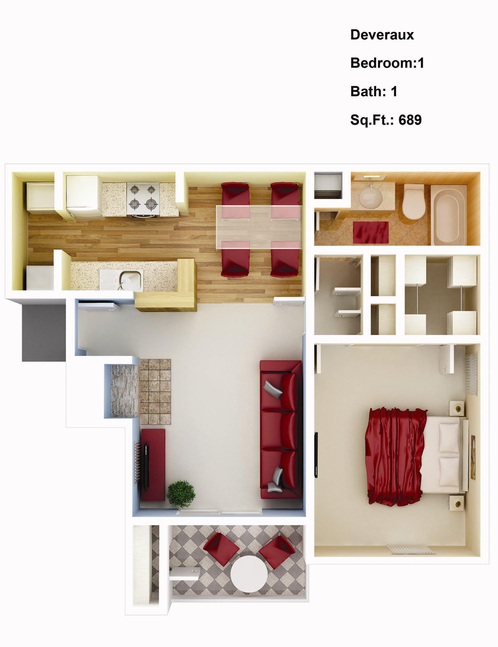 689 sq. ft. Dahlia Floor Plan 2