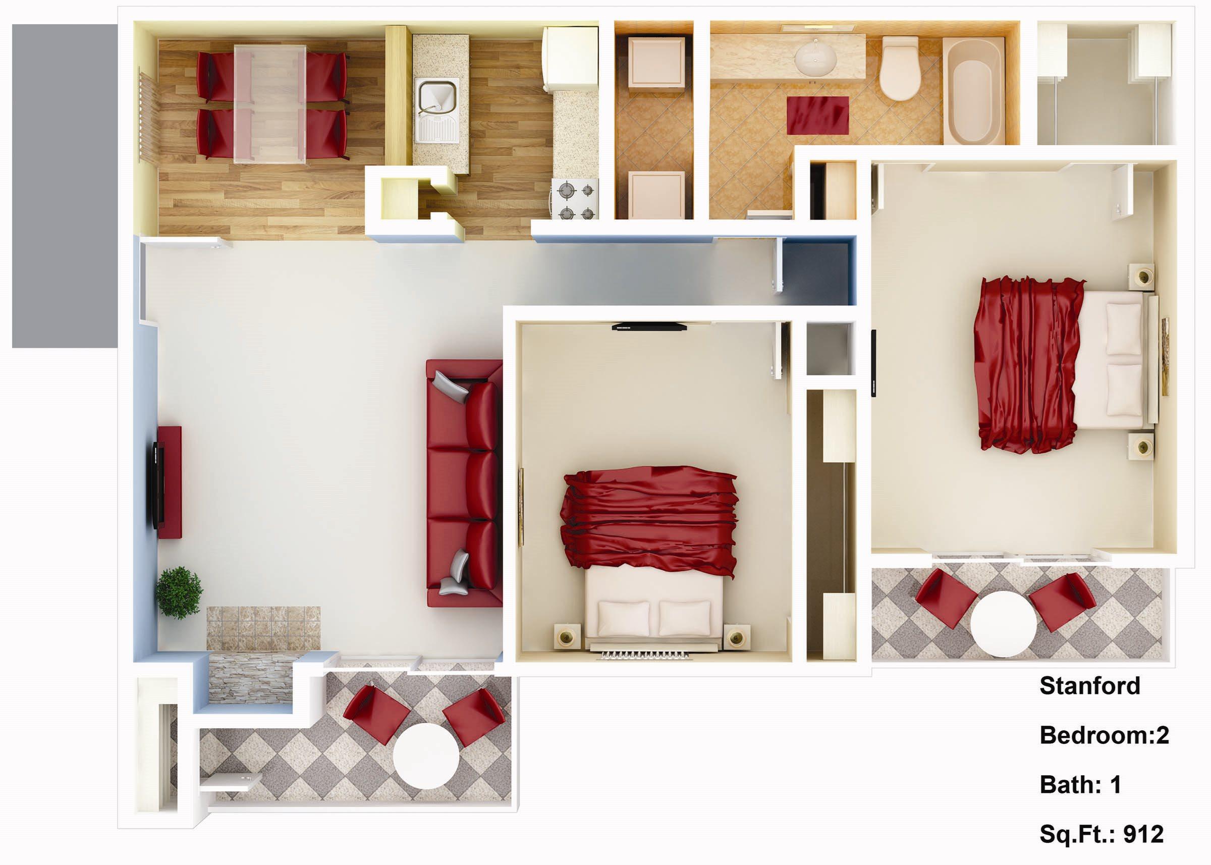 912 sq. ft. Gardinia Floor Plan 5