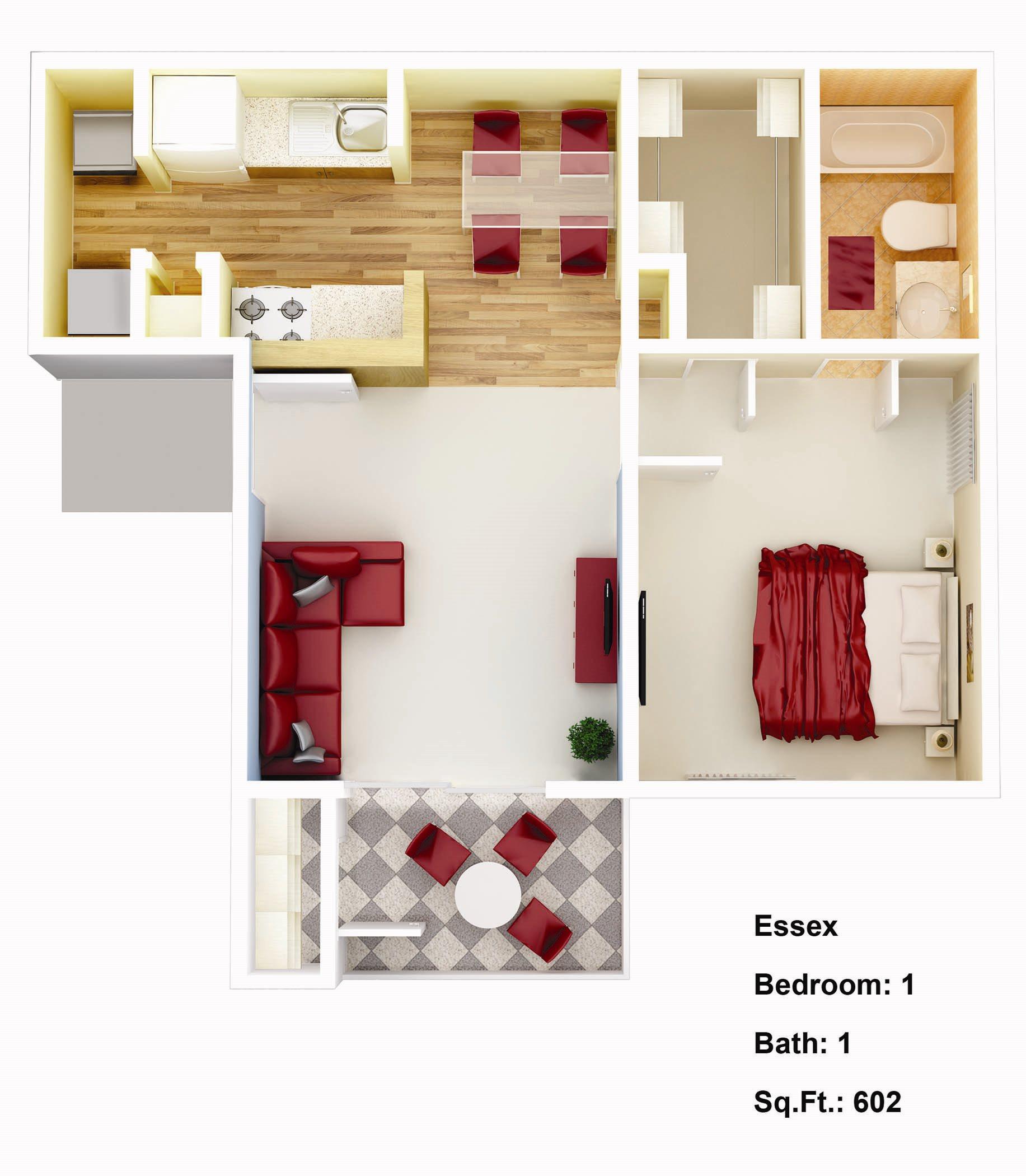 602 sq. ft. Iris Floor Plan 1