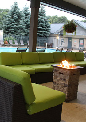 Pool-side Gas Fire Pits at apartments in Spring Lake