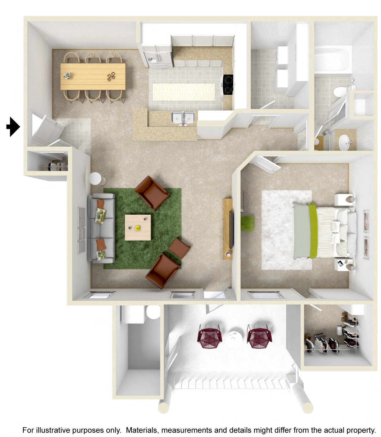 1 Bedroom Balcony Floor Plan 1