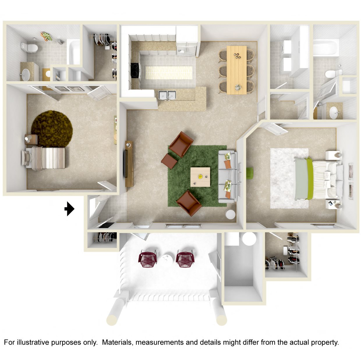2 Bedroom Balcony Floor Plan 2
