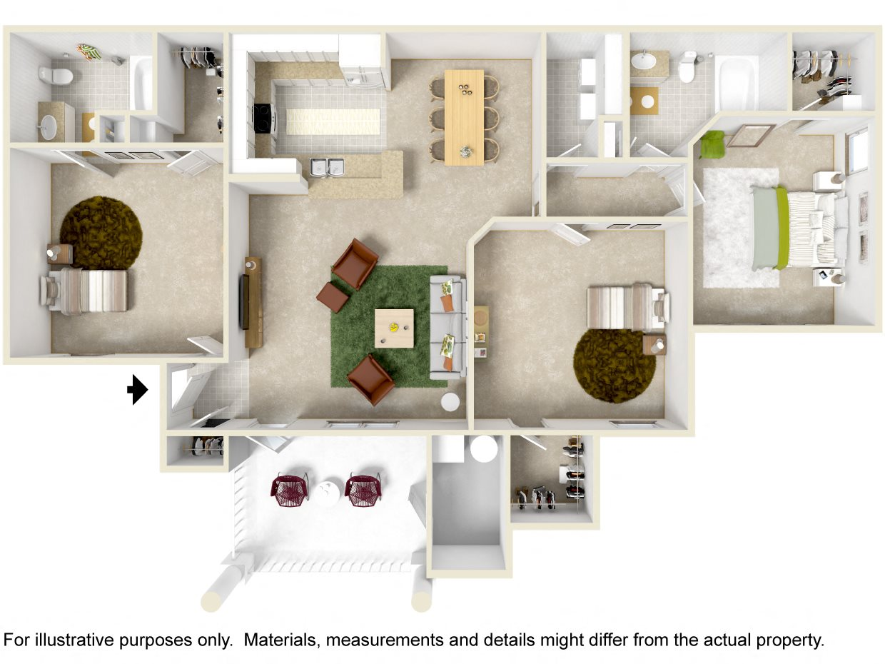 3 Bedroom Balcony Floor Plan 4