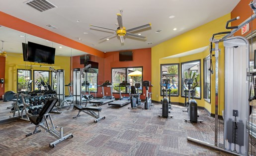 Fitness center with mirrors, large windows, ceiling fan, weight machines, and more!