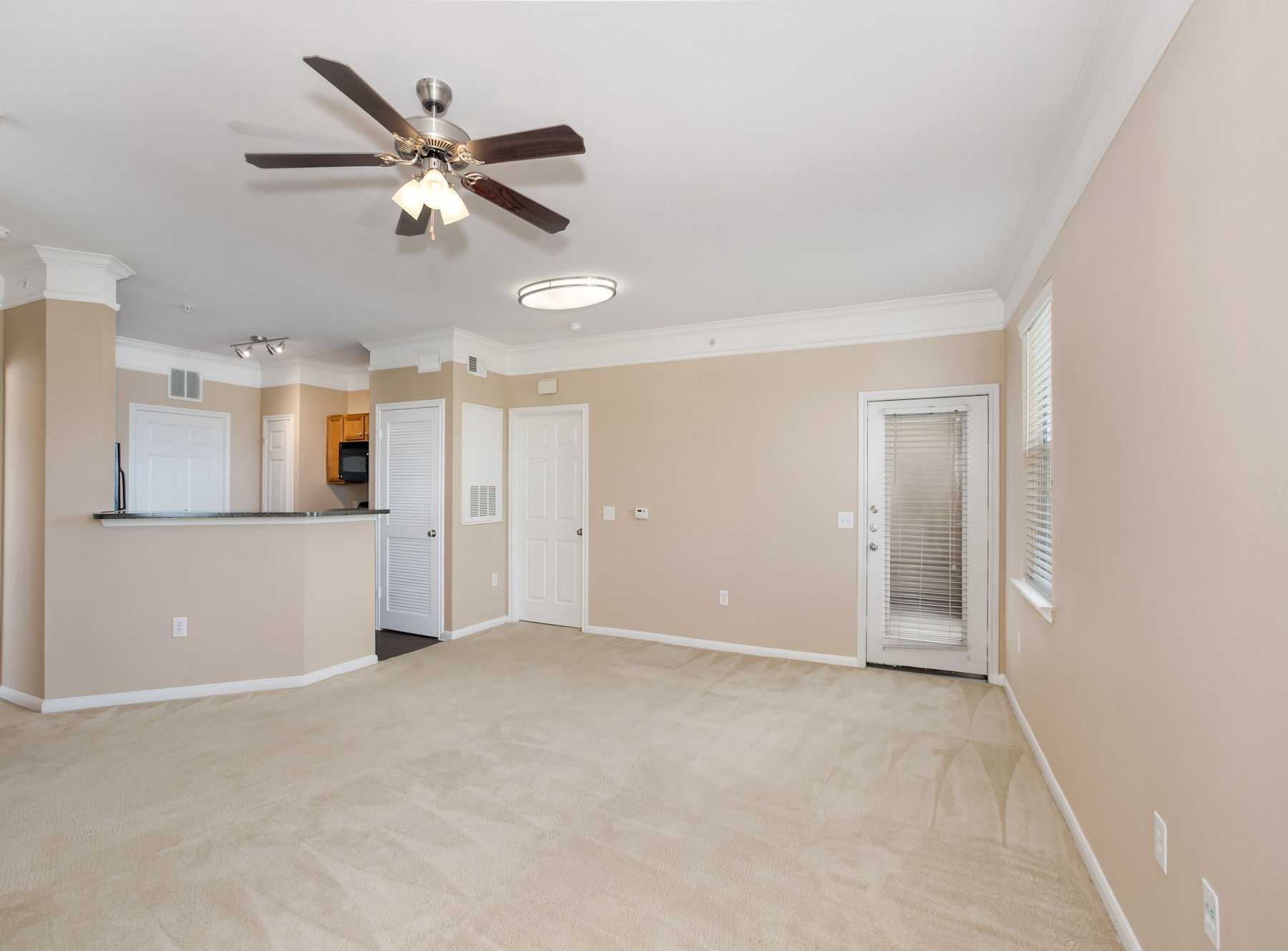 Model living room with ceiling fan, carpet, and modern two tone paint.