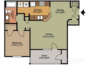 Floor plan at Fairfield Lakes Apartments, 8100 W. Hwy 98, Pensacola, 32506