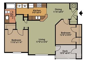Floor plan at Fairfield Lakes Apartments, FL 32506