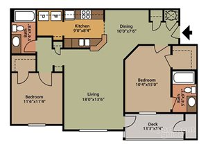 Floor plan at Fairfield Lakes Apartments, 8100 W. Hwy 98, Pensacola